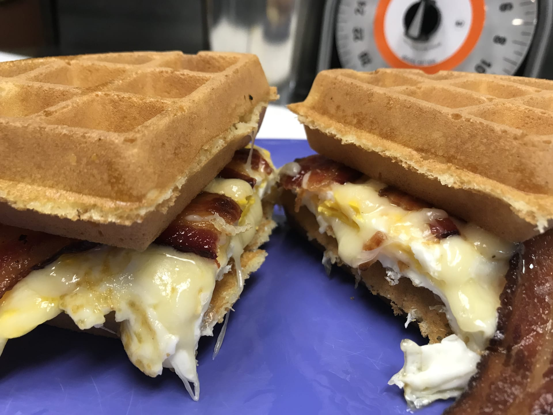 Bacon, egg & cheese waffle sandwich