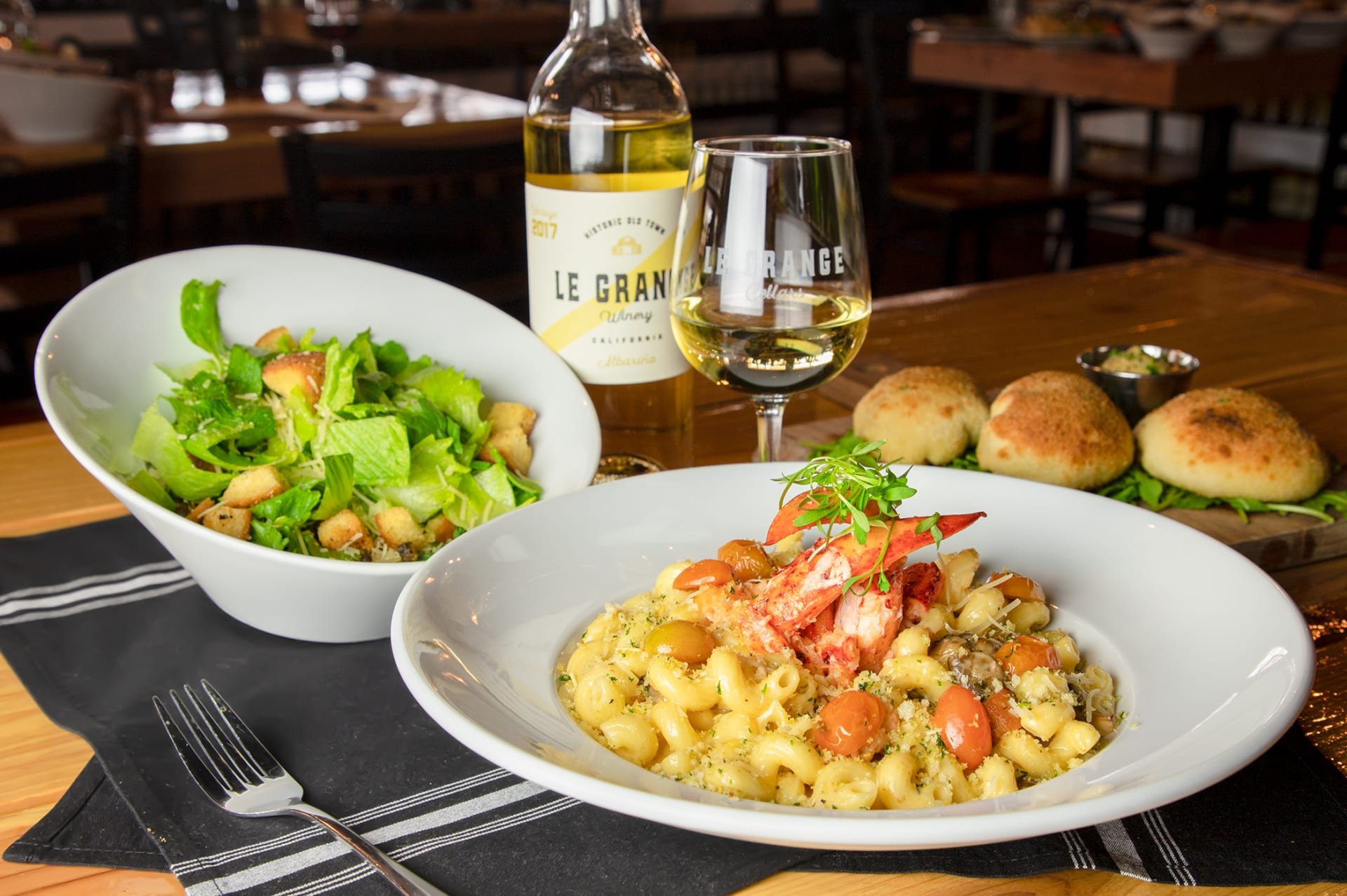 lobster mac and cheese and Cesar sald