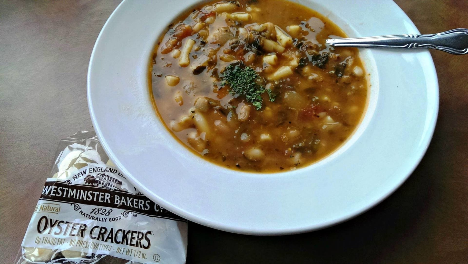 soup with oyster crackers