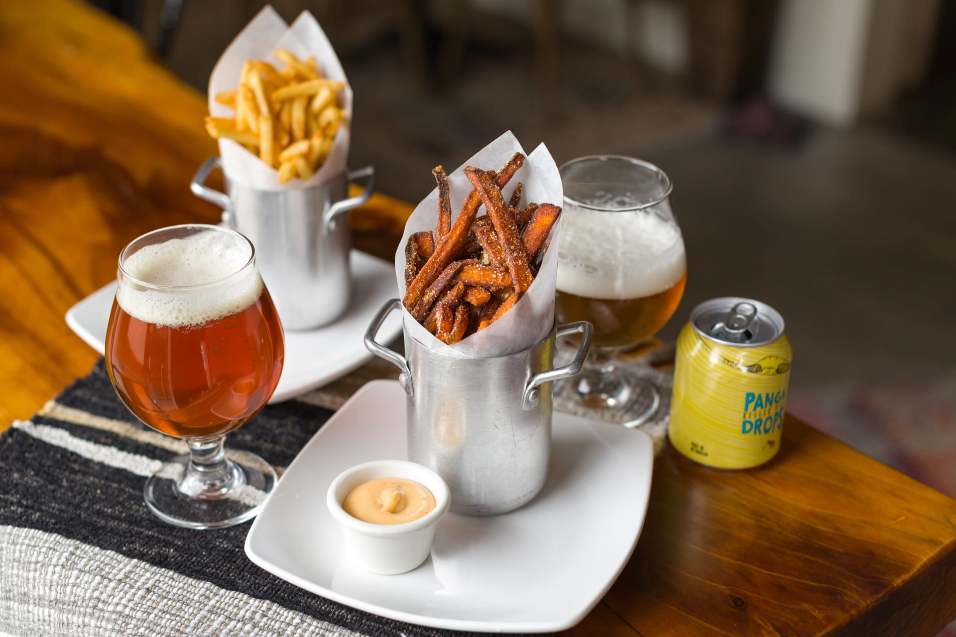 sweet potato fries and beers