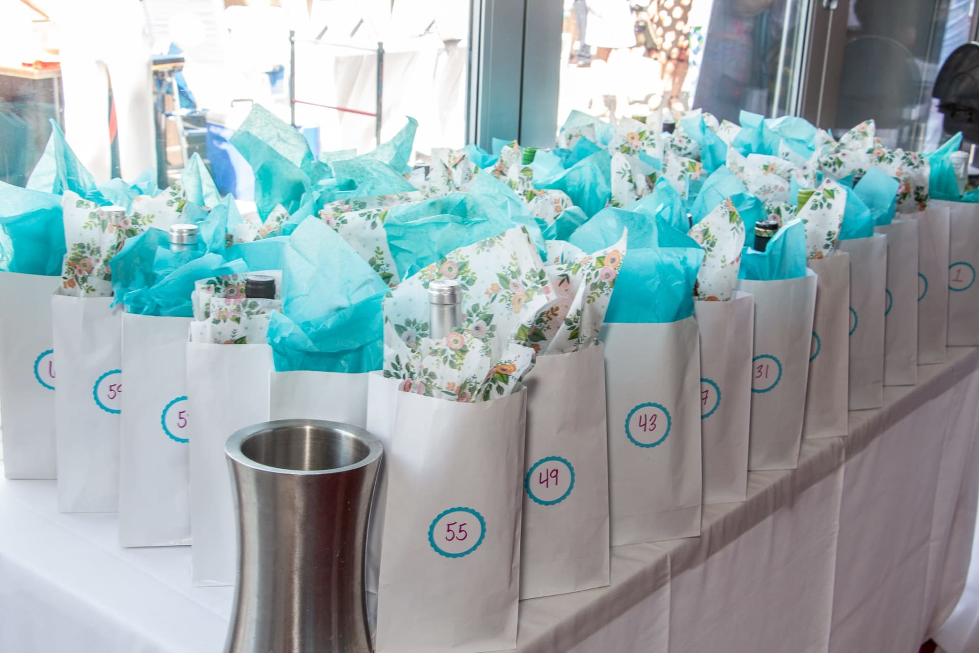 blue and white bags for function