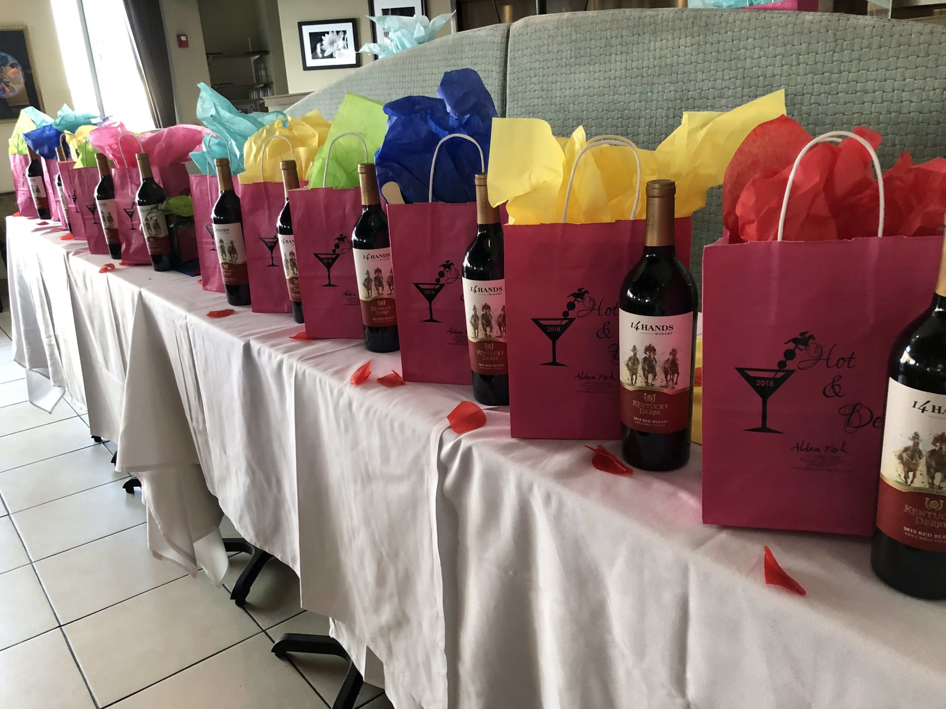 gift bags and wine for function