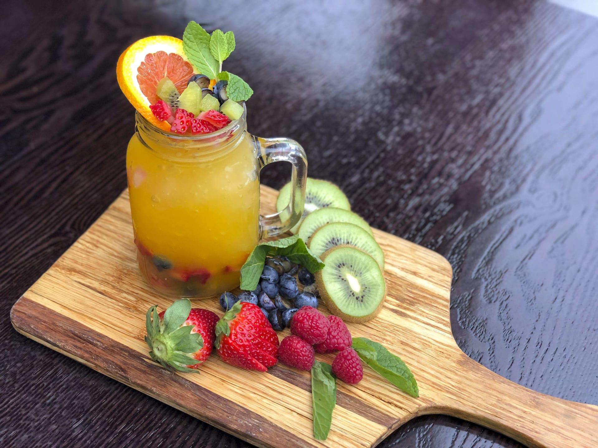 fruity drink on a cutting board