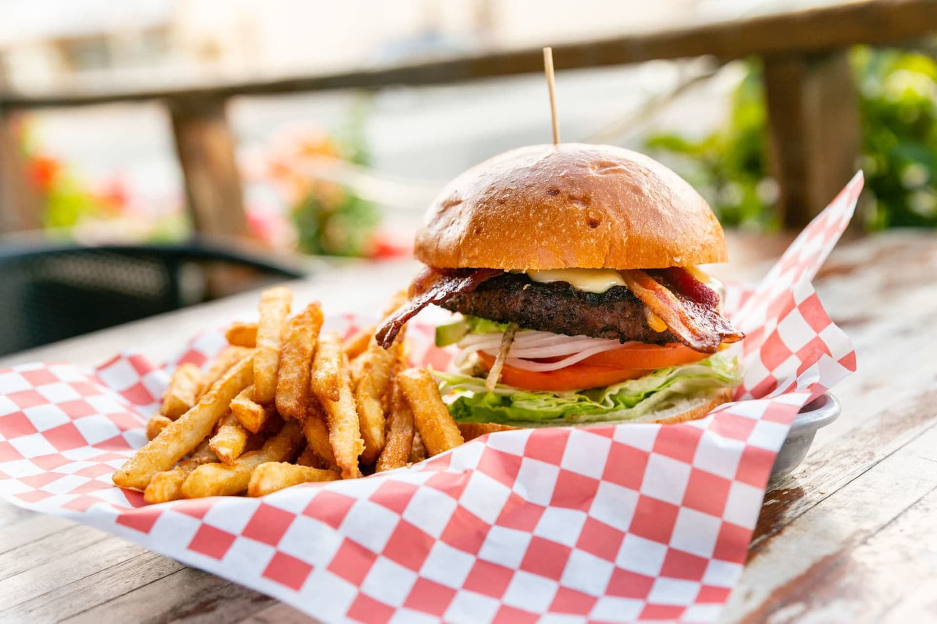 burger in basket with fries