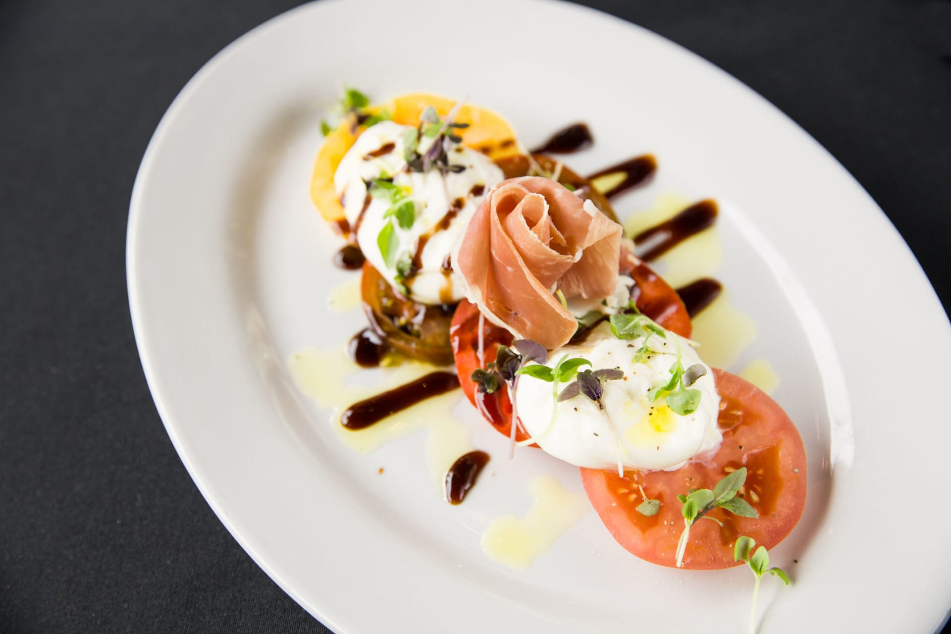 mozzarella tomato and bruchetta