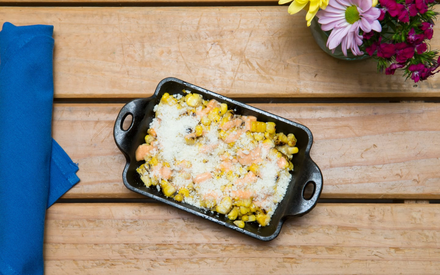Grilled Corn, Spicy Mayo, Cotija