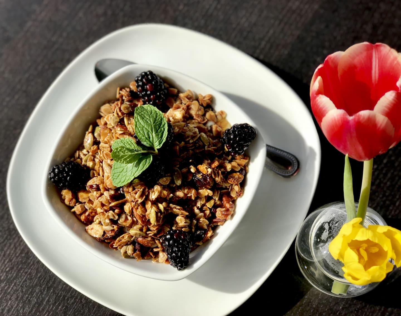 Cranberry Pecan Granola w/ Blackberries& Honey Yogurt
