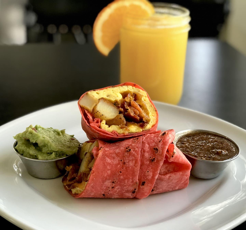 Breakfast Wrap w/Smoked Bacon, Cheddar Cheese, Potato Scramble & AvocadoSalsa