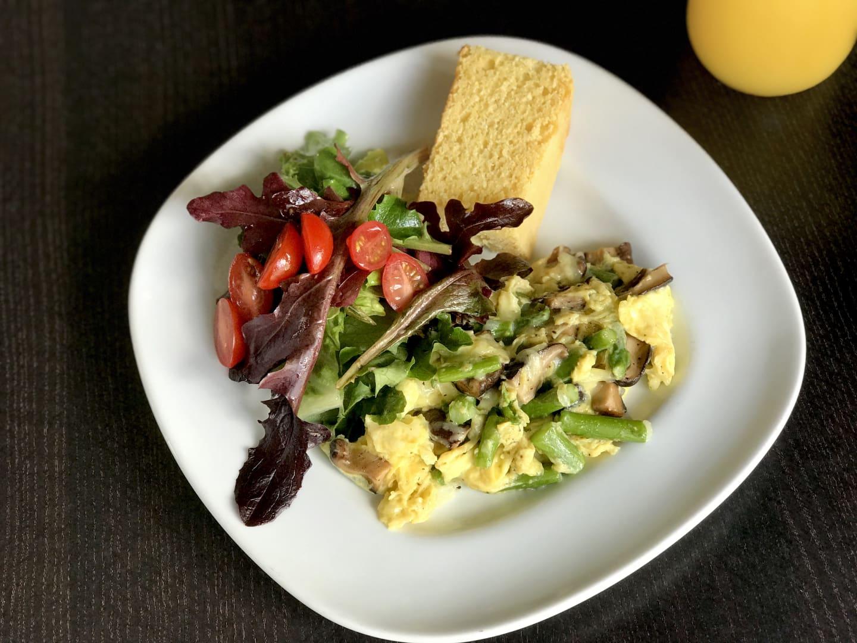 Wild Mushroom, Asparagus, Black Truffle Cheese Scramble w/ Baby Green Salad