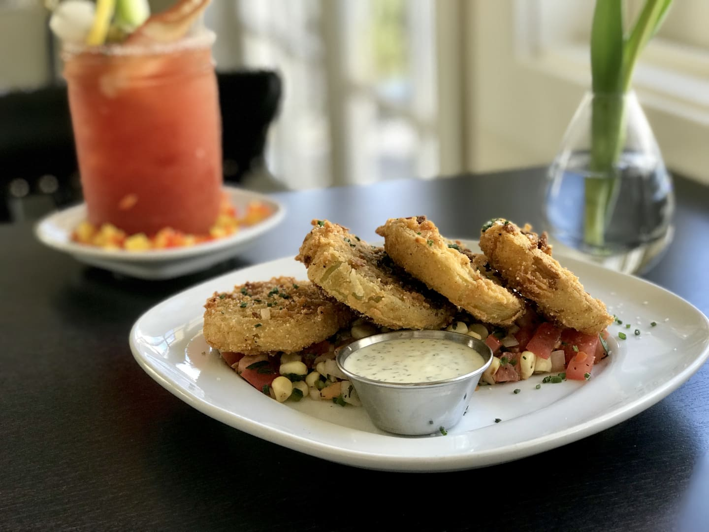 Fried Green Tomatoes w/ Roasted Corn Salsa & Herb Buttermilk Dressing