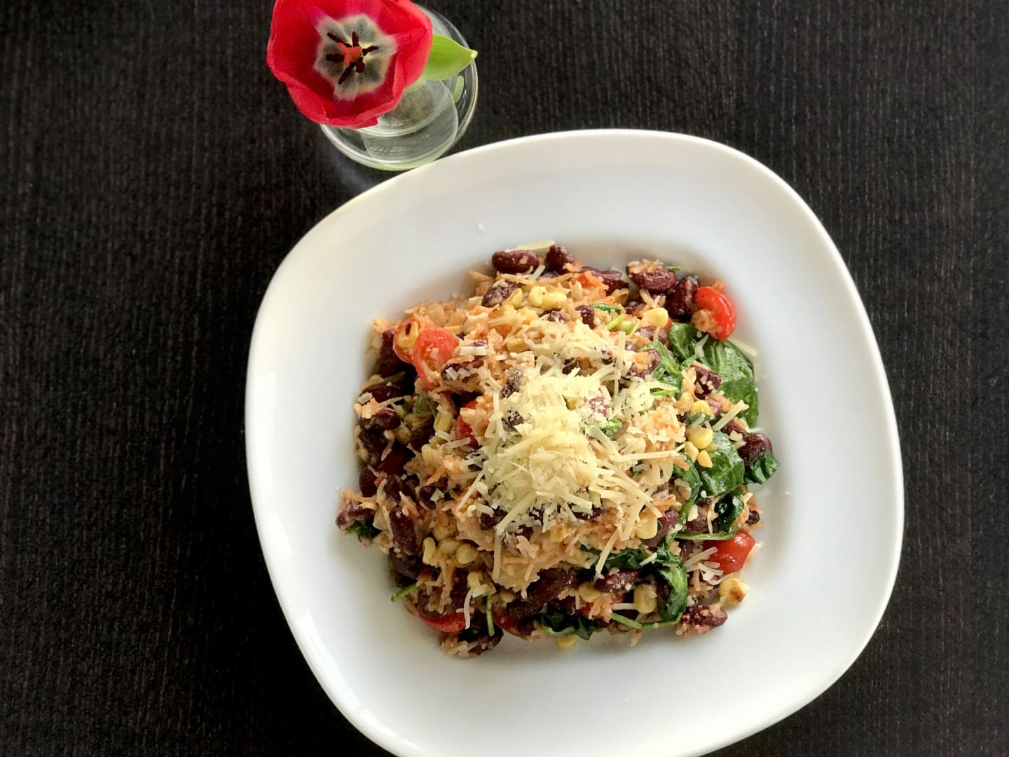 Red Beans & Rice Vegetarian Style w/ Roasted Shallots, Tomatoes, Corn, Sauteed Greens & Parmesan