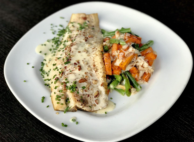 Pecan Crusted Trout w/ Sweet PotatoCrabHash,SauteedHaricot Verts &Beurre Blanc