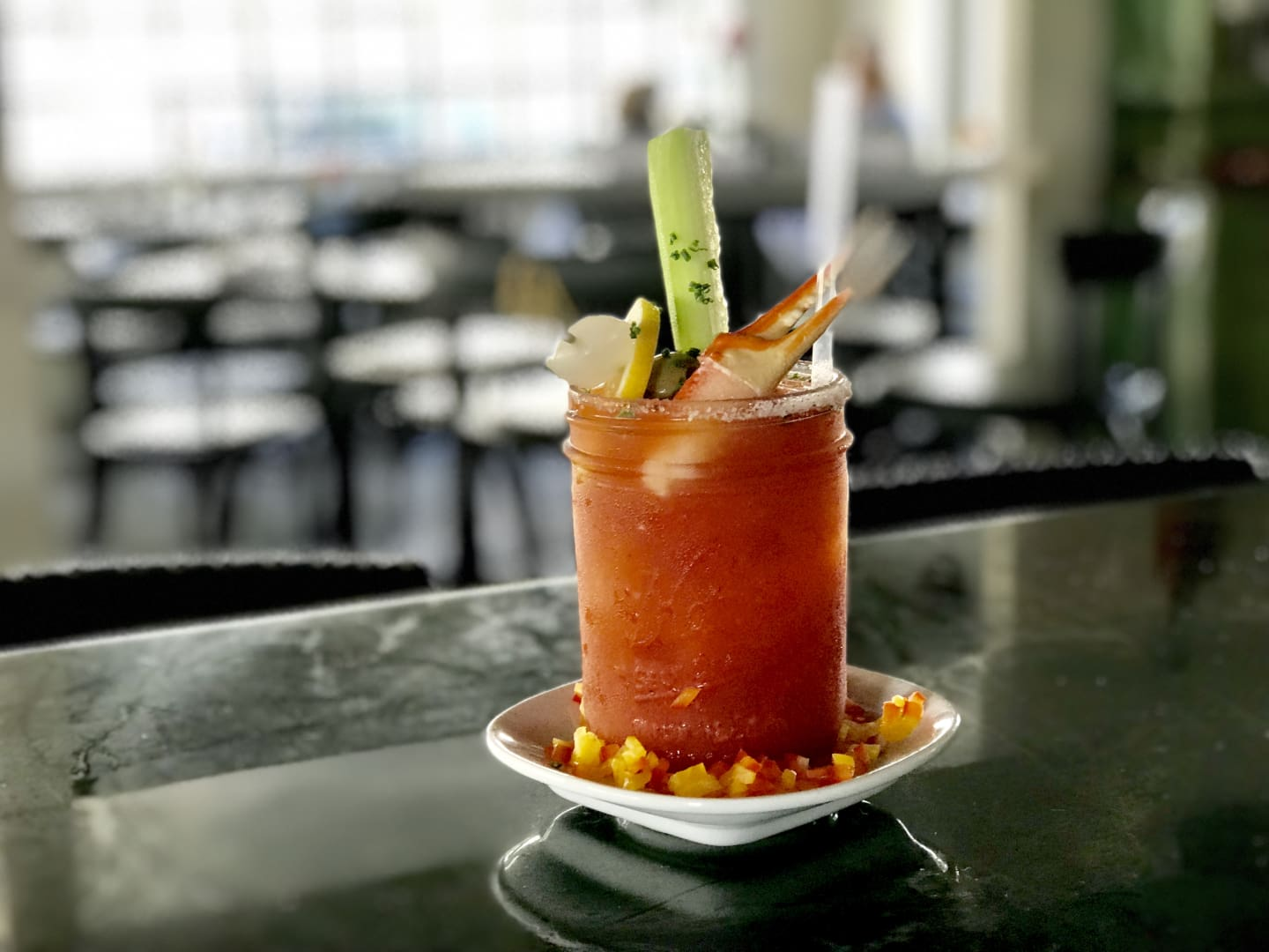 Smoked Chipotle, Crab Claw & Cucumber Bloody Mary