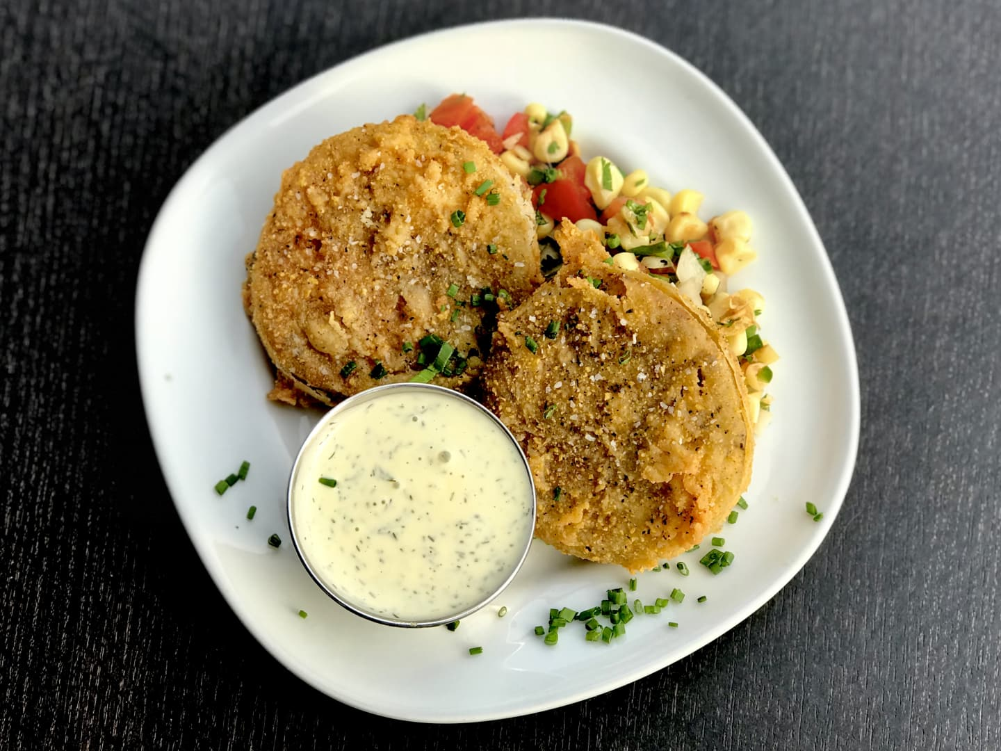 Fried Green Tomatoes w/ Herb Buttermilk Dressing w/ Roasted Corn Salsa& Herb Buttermilk Dressing