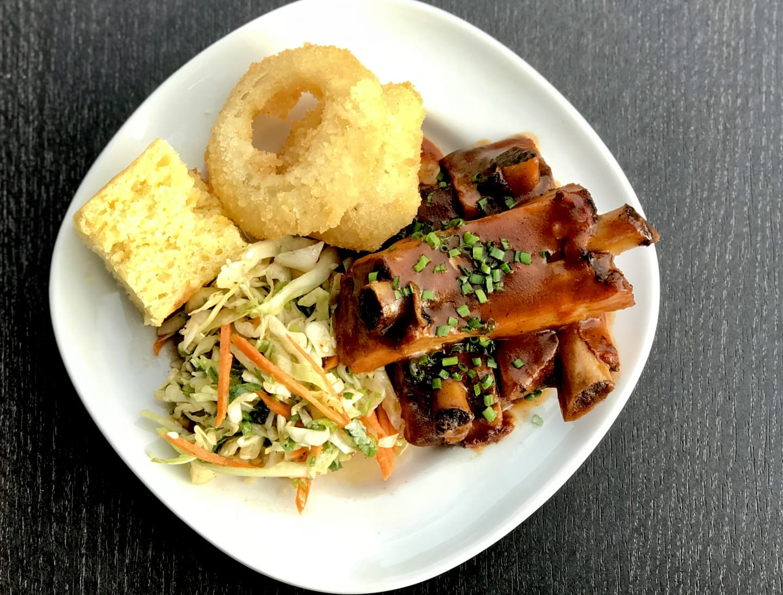 Bloody Mary Braised Ribs w/ Fried Onions, Cornbread & Sesame Peanut Coleslaw