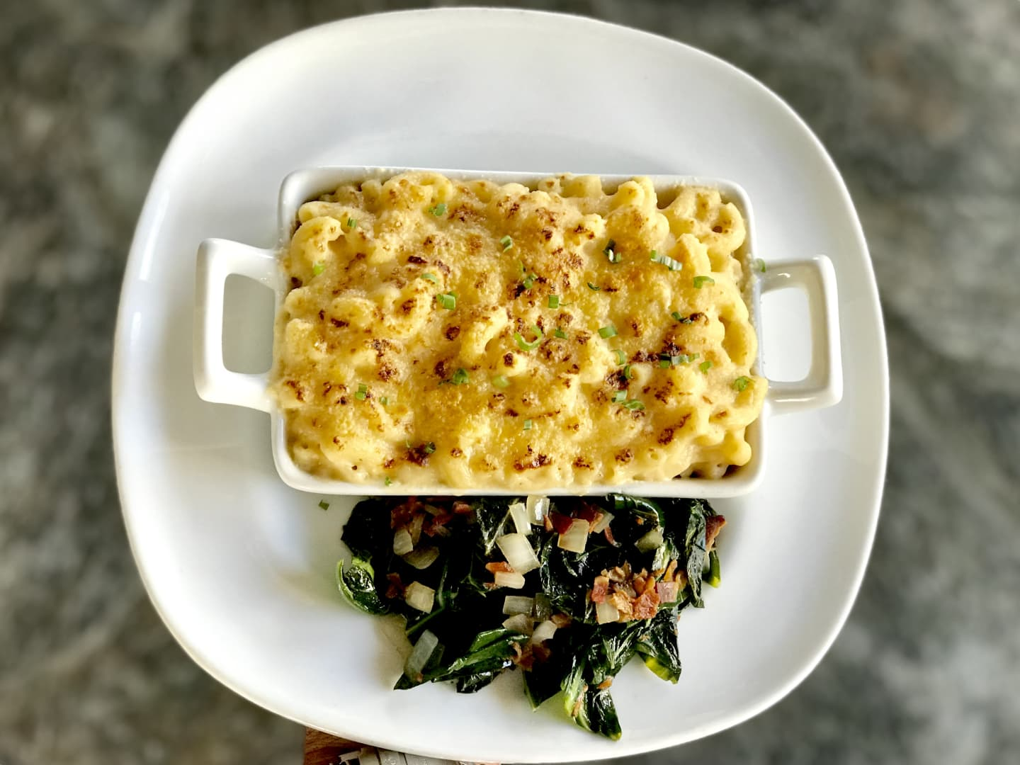 Mac n' Cheese w/ Smoked Bacon Collard Greens