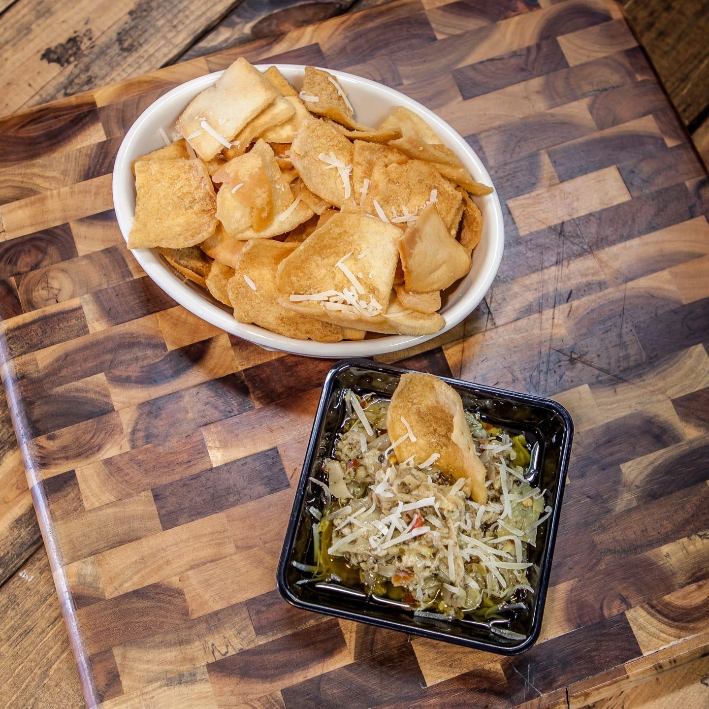 Sea Salt Pita Chips and Gourmet Dip