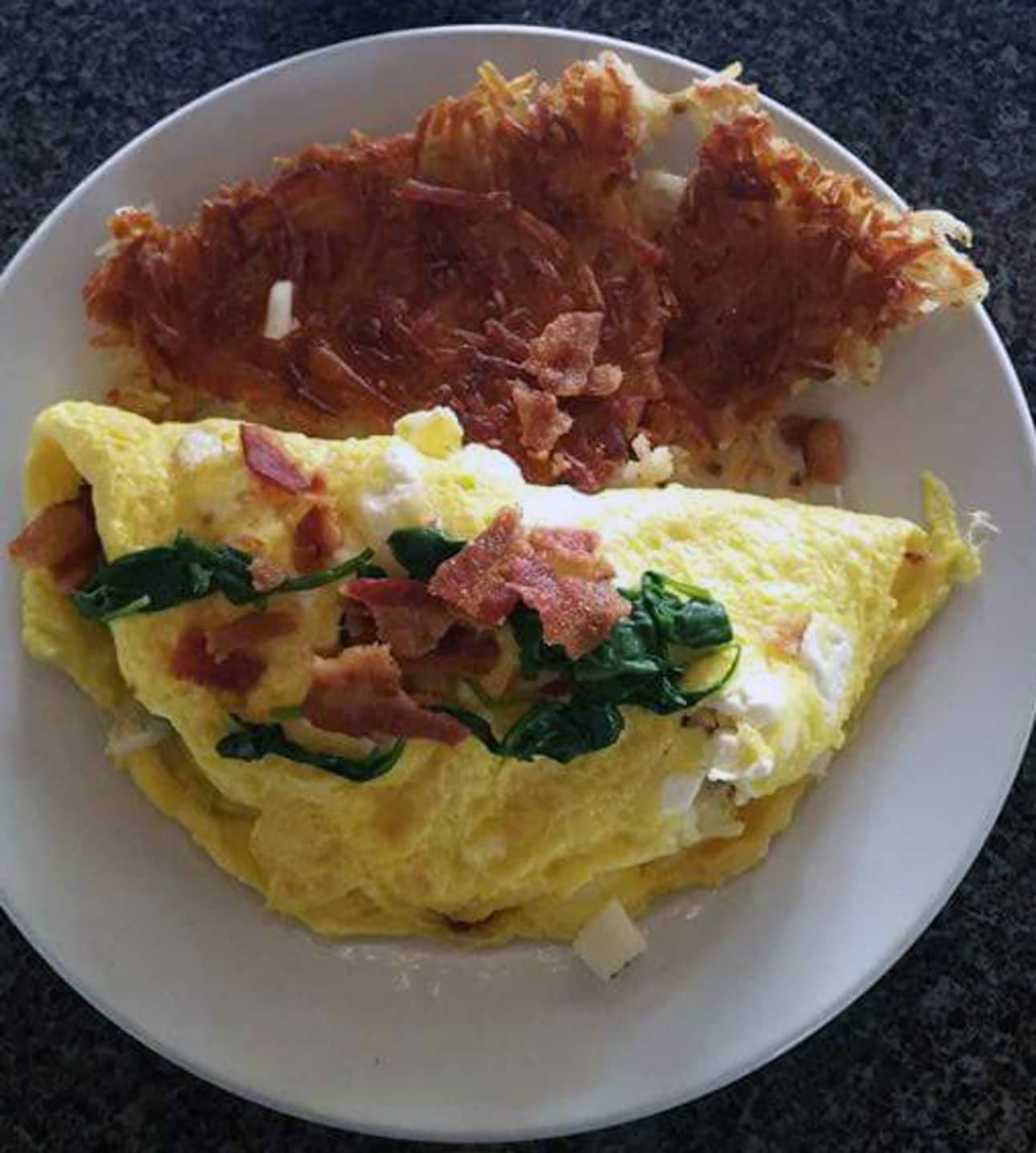 Bacon Spinach Cream Cheese Omelette