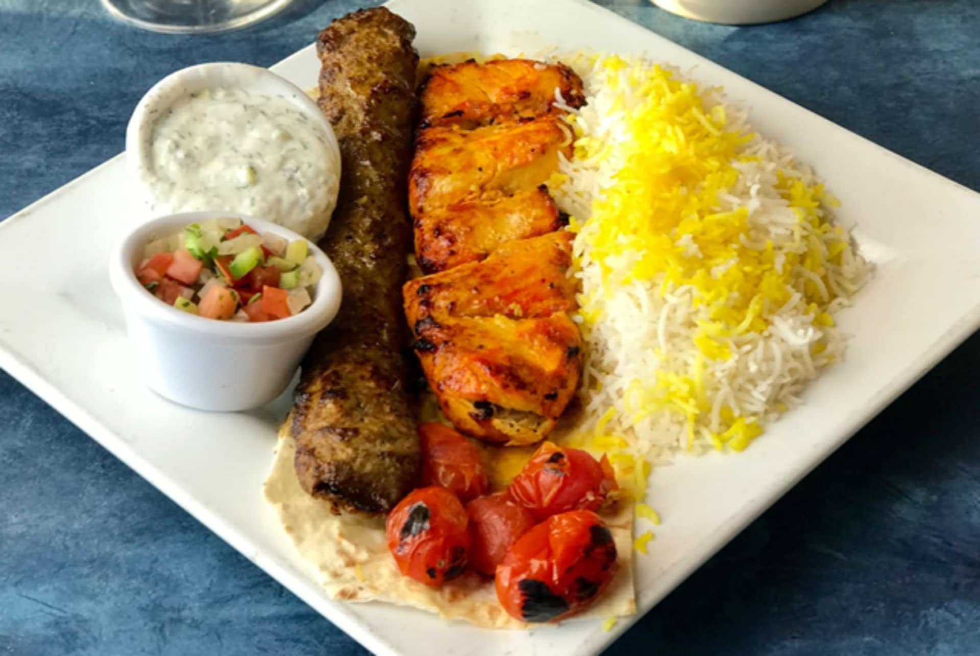 1 Skewer of Koobideh + 1/2 Chicken Breast