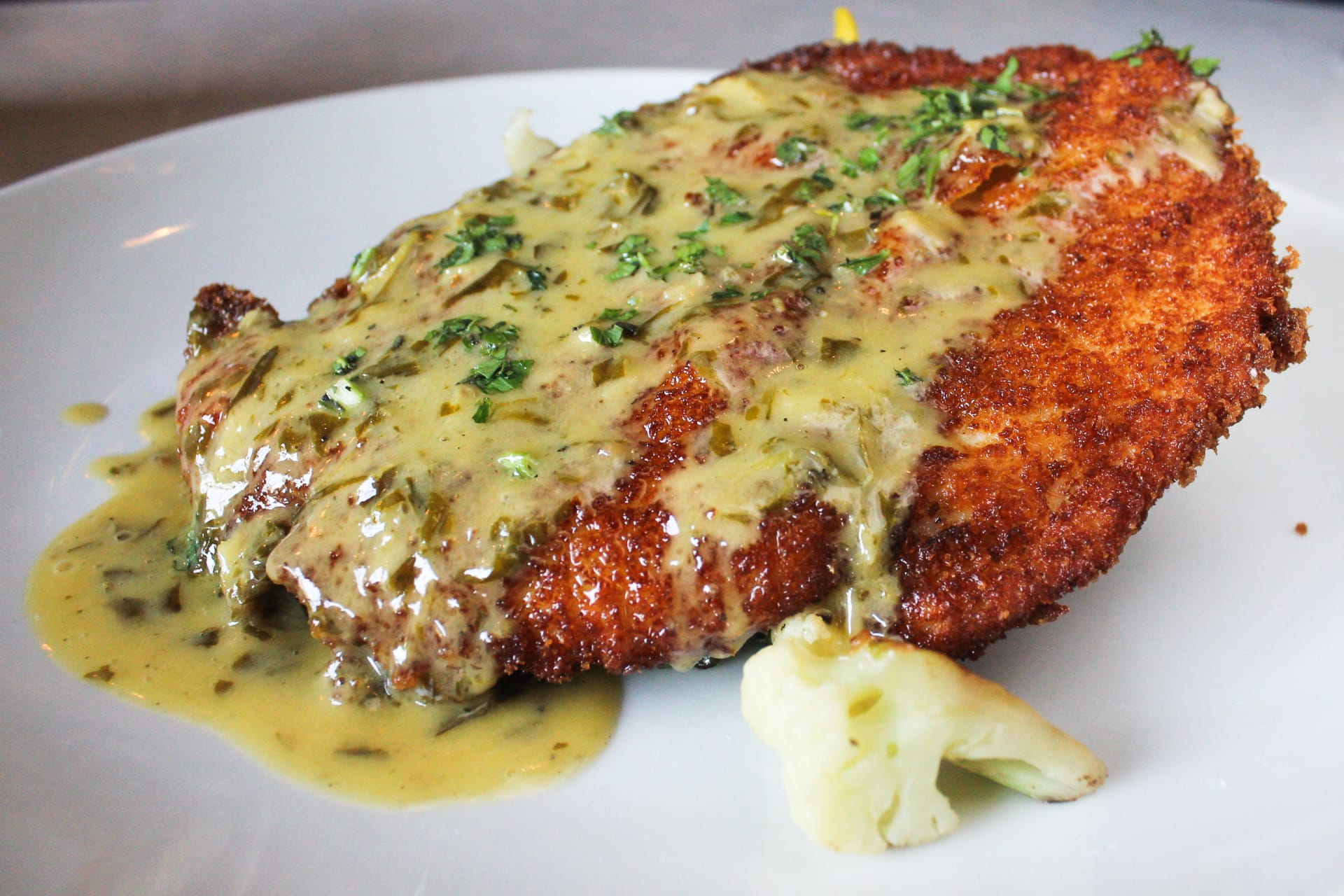 Crispy Jidori Chicken Schnitzel with Maitake Mushrooms
