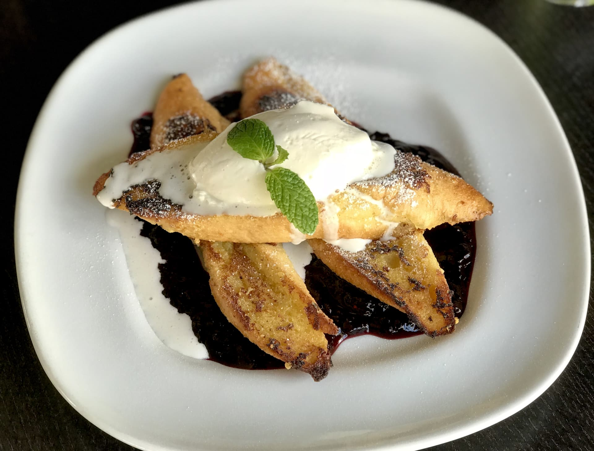 Vanilla Dipped French Toast w/ Jumbleberry Topping & Fresh Whipped Cream