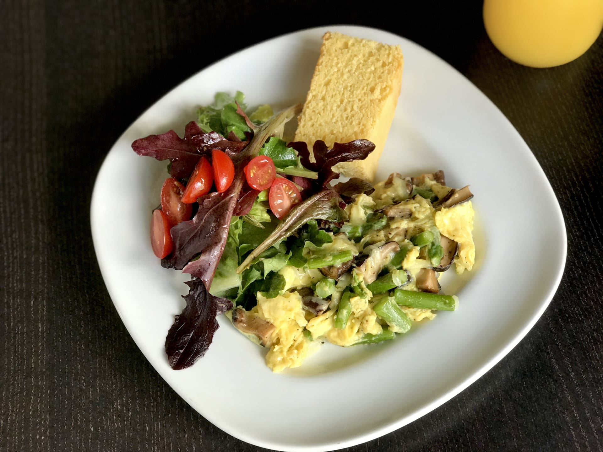 Wild Mushroom, Asparagus, Black Truffle Cheese Scramble w/ Baby Green Salad
