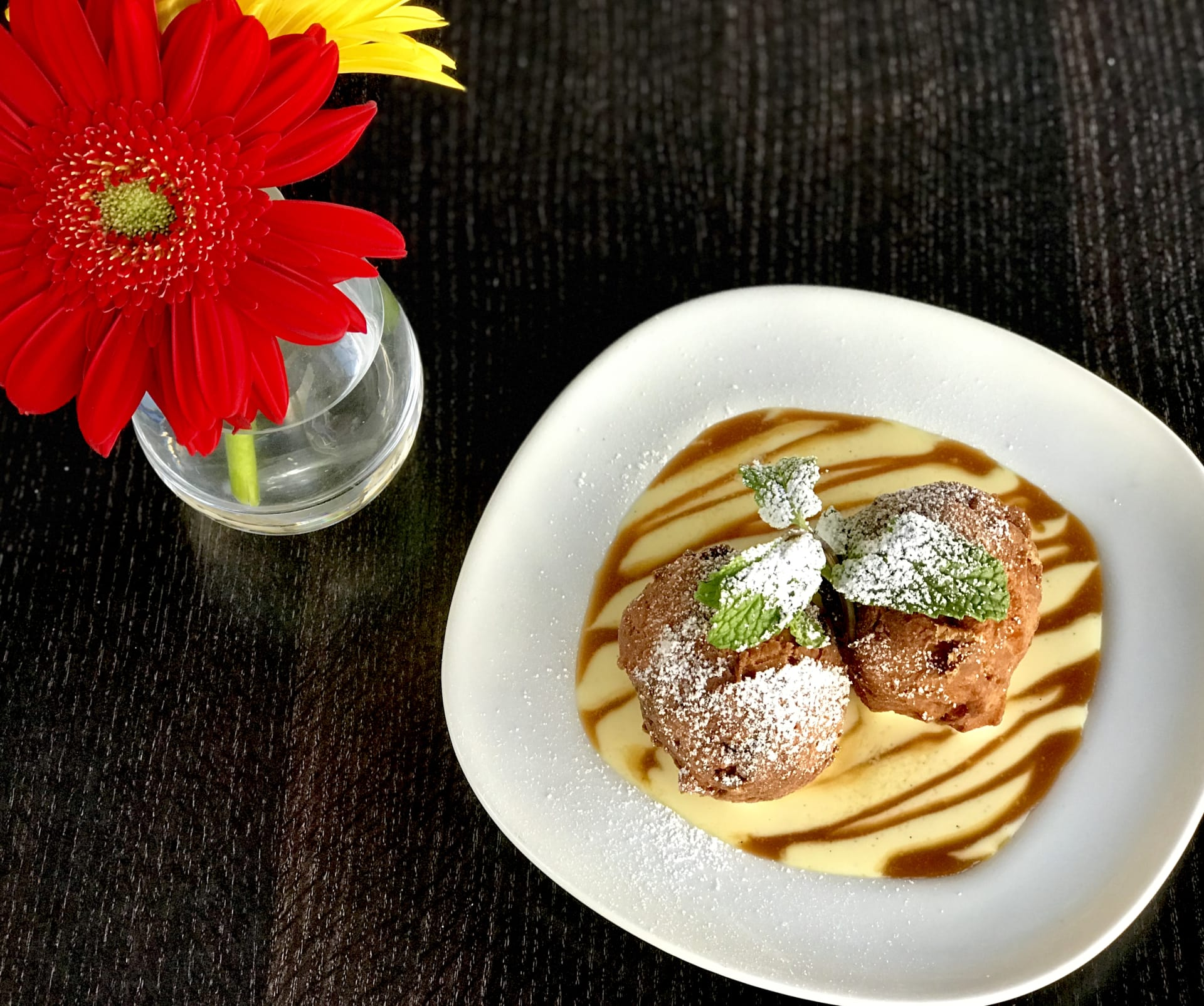 Cinnamon AppleBeignets w/ CrèmeAnglaise & Homemade Caramel