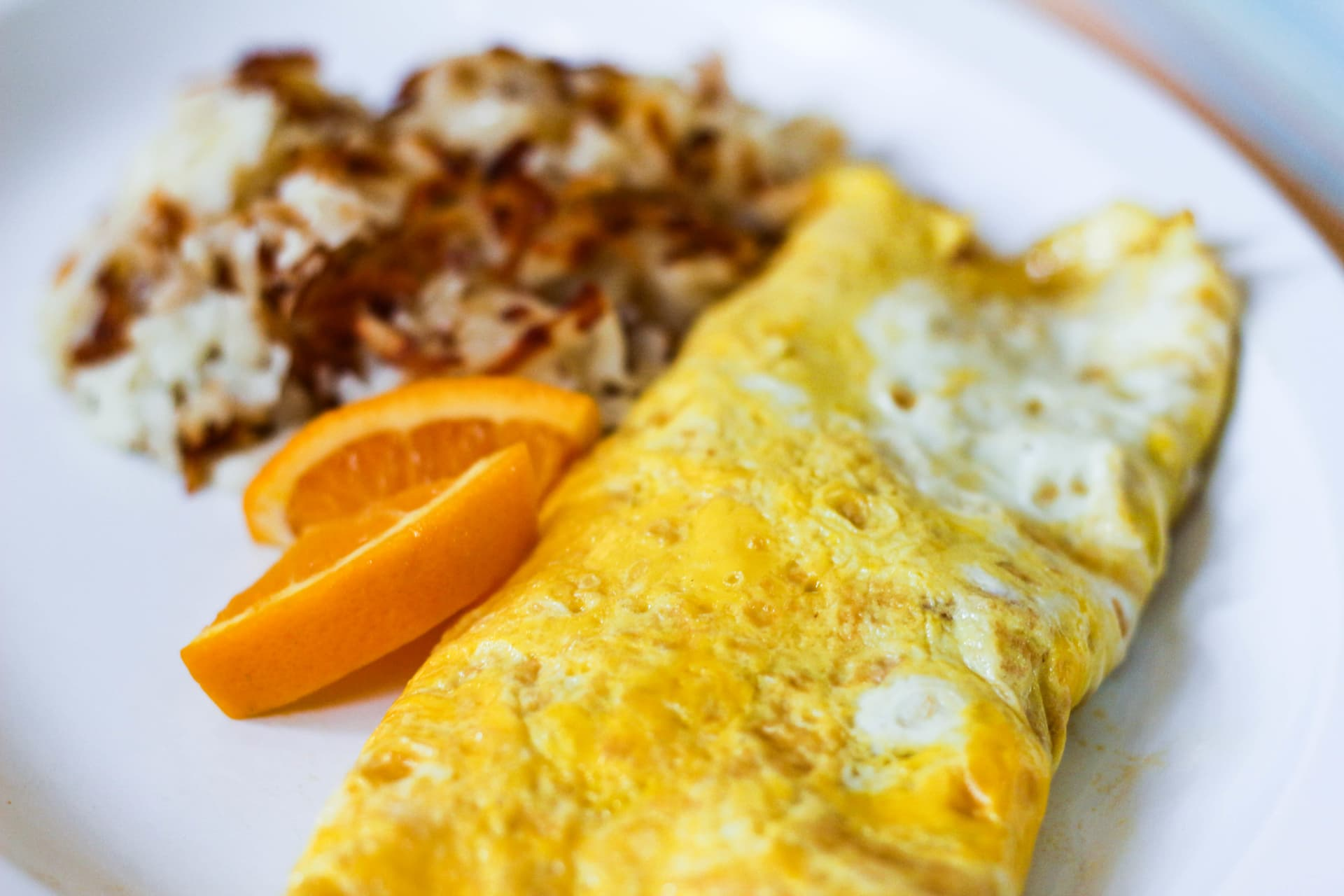 Two Egg Omelets Served with Choice of Toast or Hash Browns