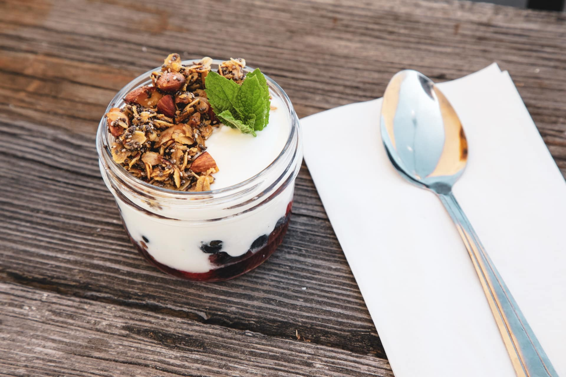 "Chia Seed Granola, Yogurt, Raw Berry ""Jam"""