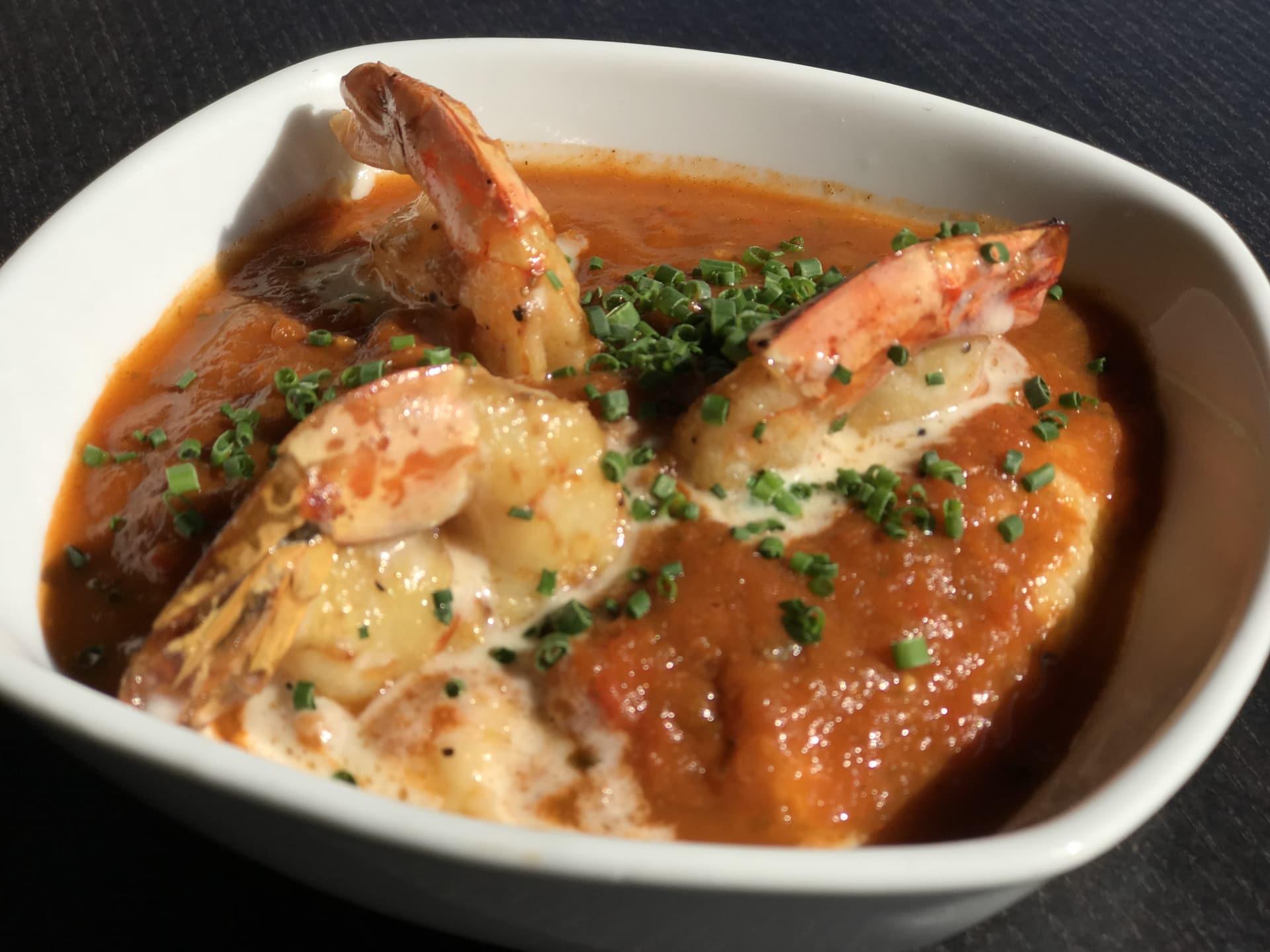 Cheddar Jalapeno Grits w/ Shrimp & Lobster Gumbo Sauce