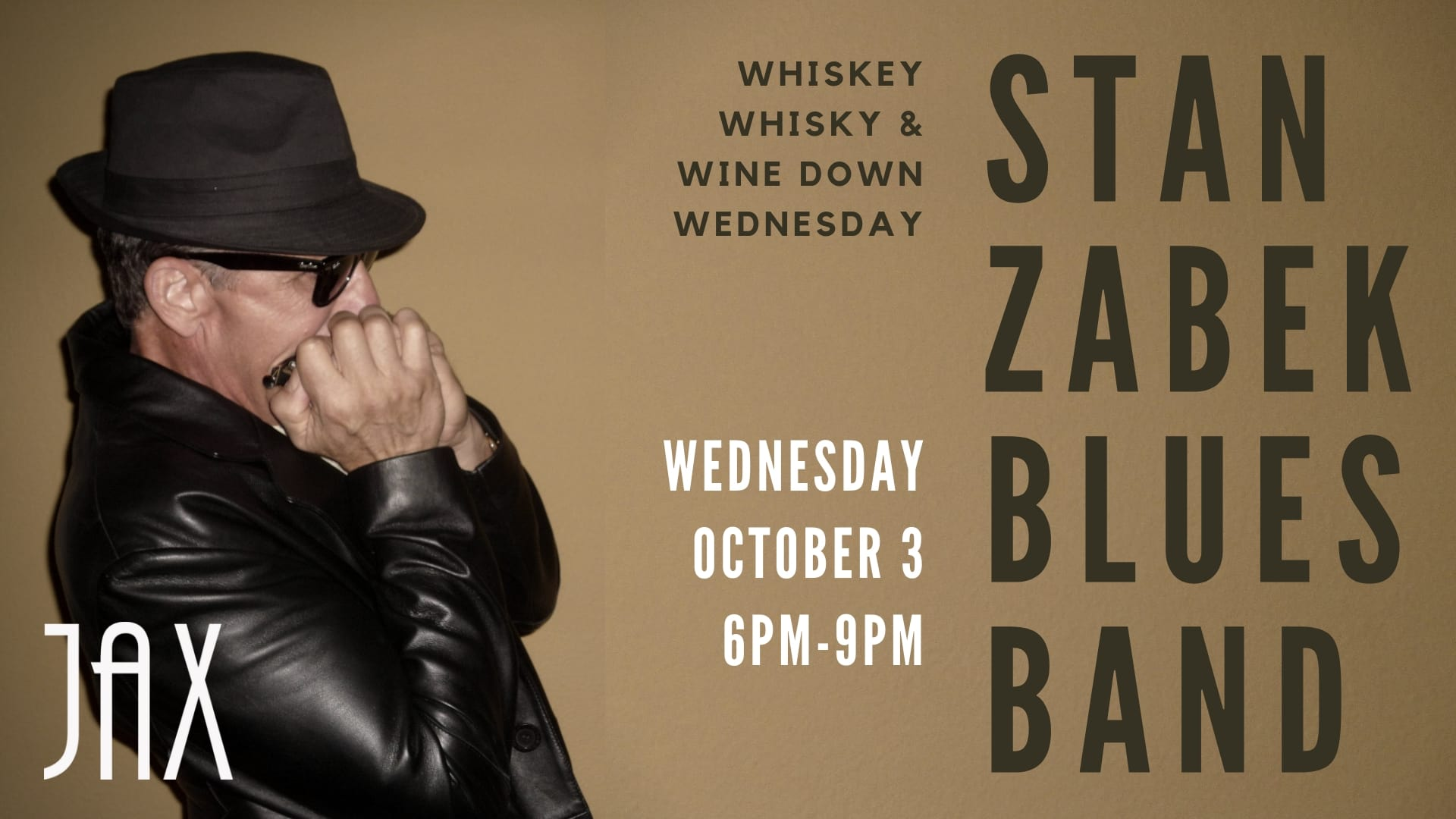 October 3 | WHISKEY WHISKY & WINE DOWN WEDNESDAY with THE STAN ZABEK BLUES BAND