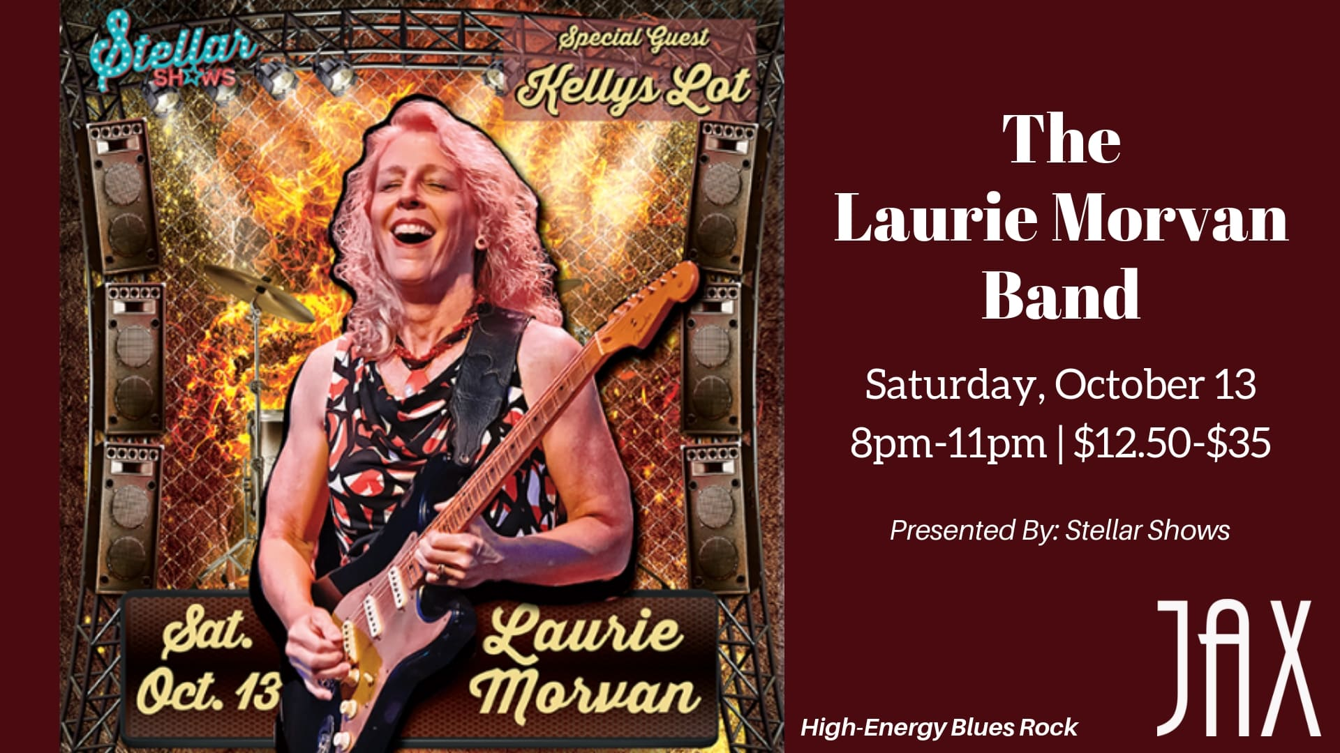 October 13 | THE LAURIE MORVAN BAND - Presented By StellarShows