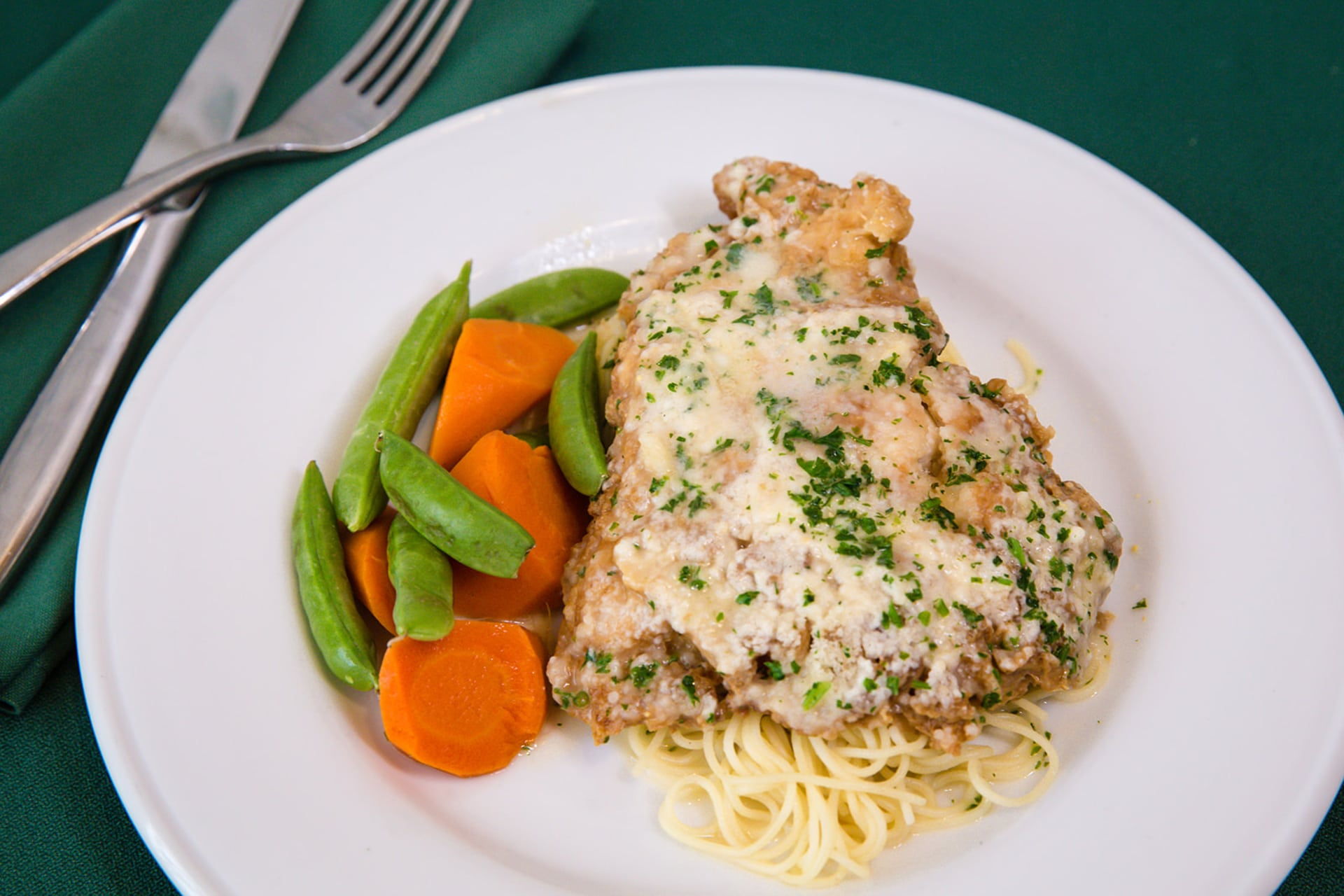 Chicken French over Angel Hair Pasta