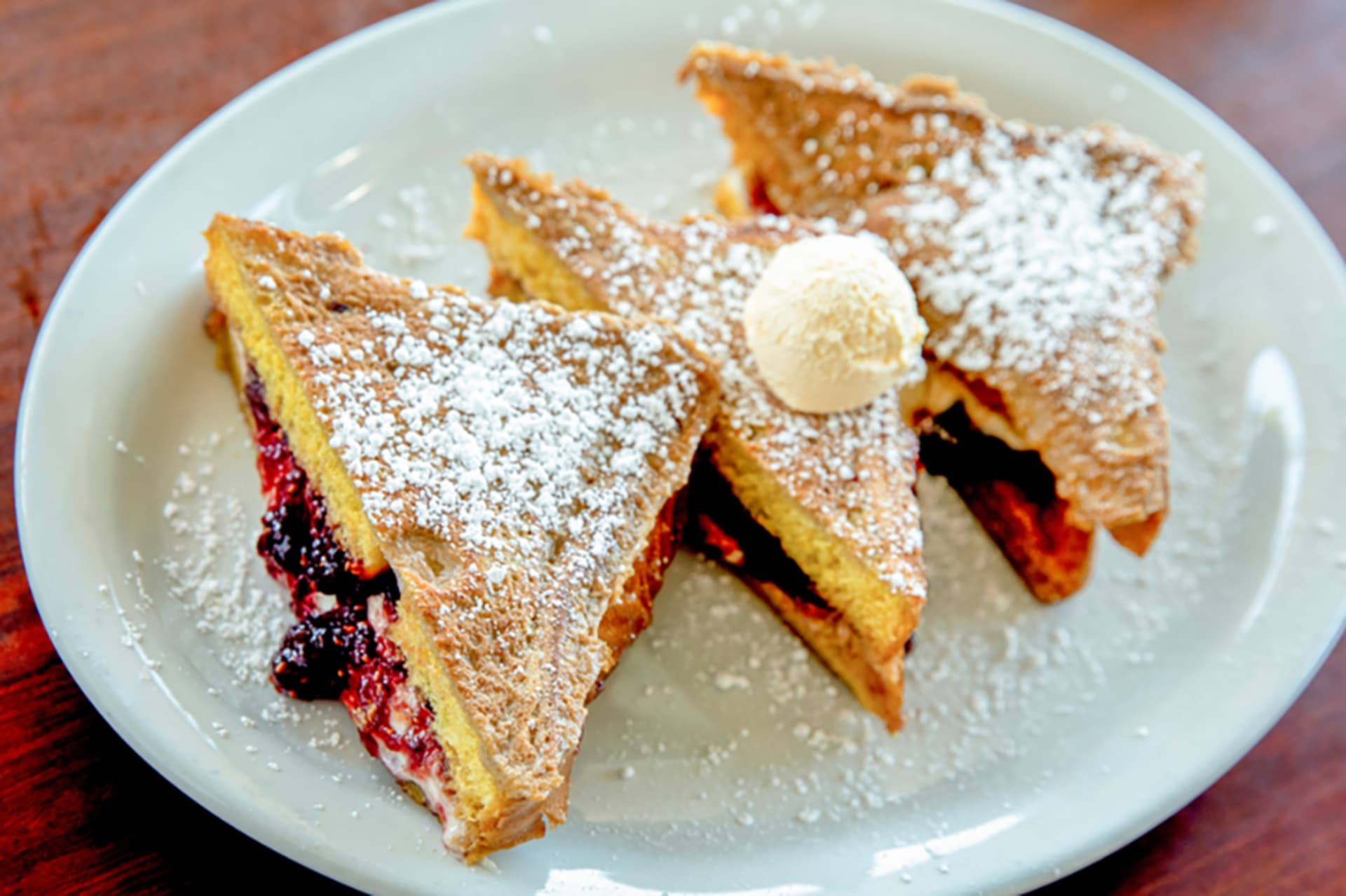 Raspberry or Caramel Cheesecake Stuffed French Toast