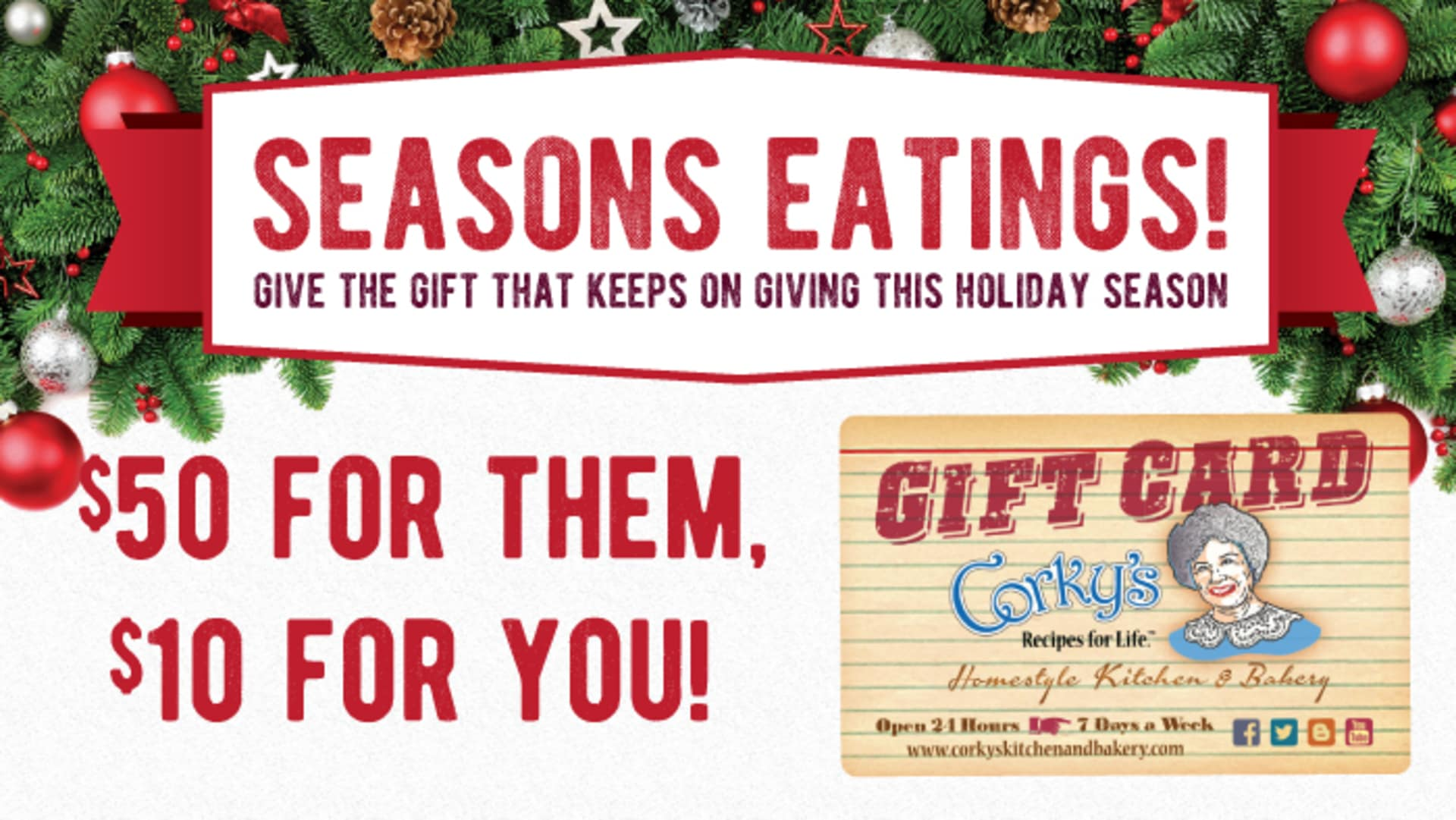 Seasons Eatings! Holiday Gift Cards on sale now!