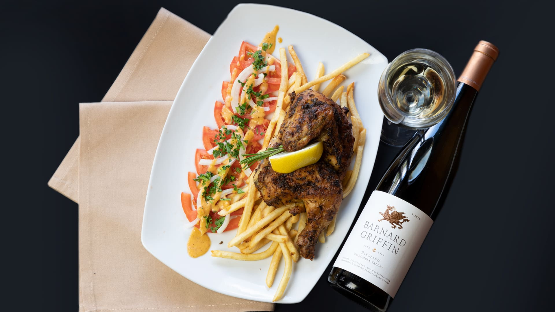 chicken with a bottle of wine