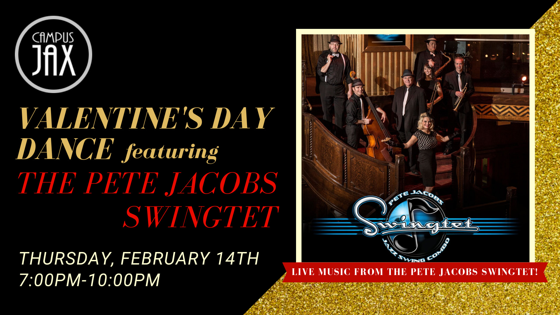 February 14 | VALENTINE'S DANCE with THE PETE JACOBS SWINGTET