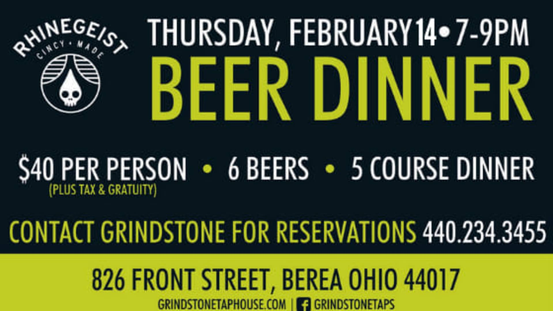RHINEGEIST BREWERY BEER DINNER