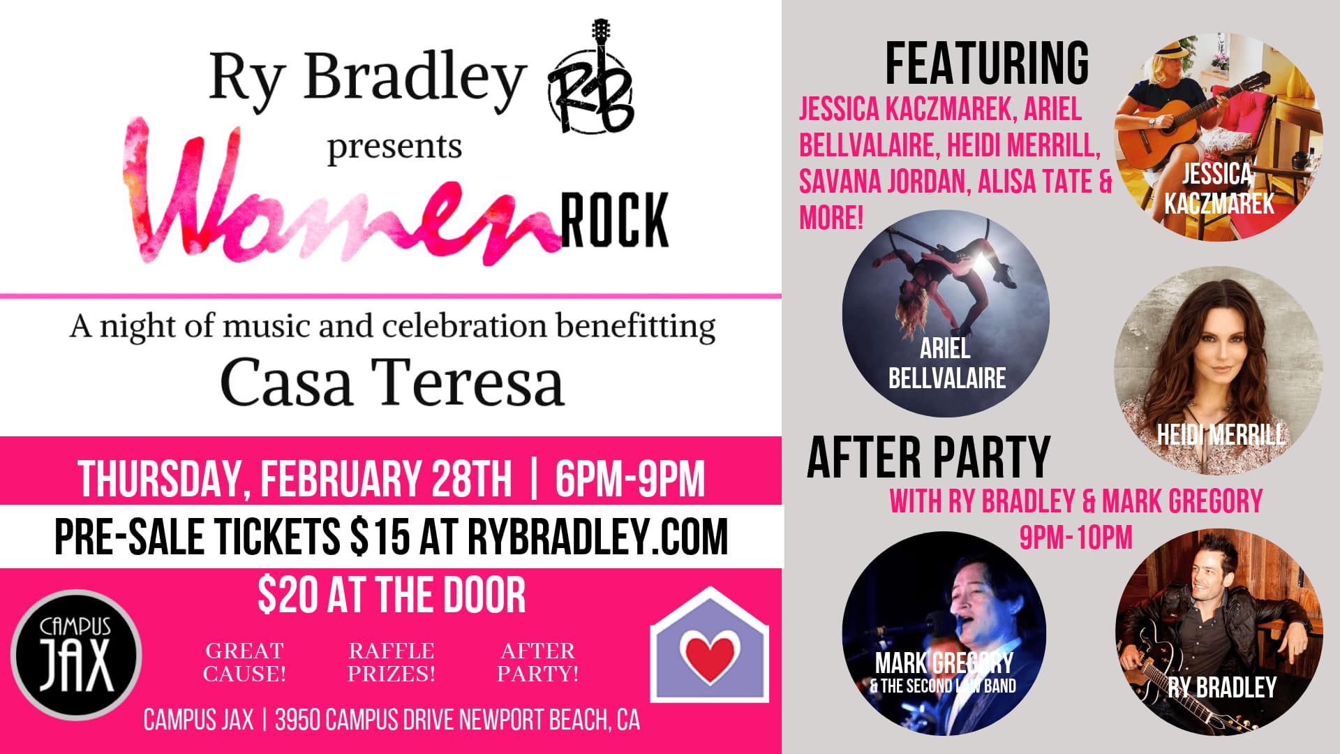 February 28 | RY BRADLEY hosts WOMEN ROCK CHARITY EVENT for Casa Teresa