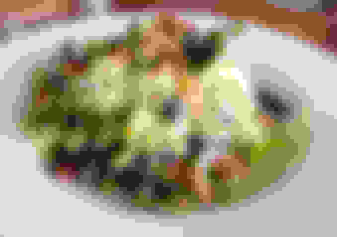 shaved brussels sprout and blueberry salad