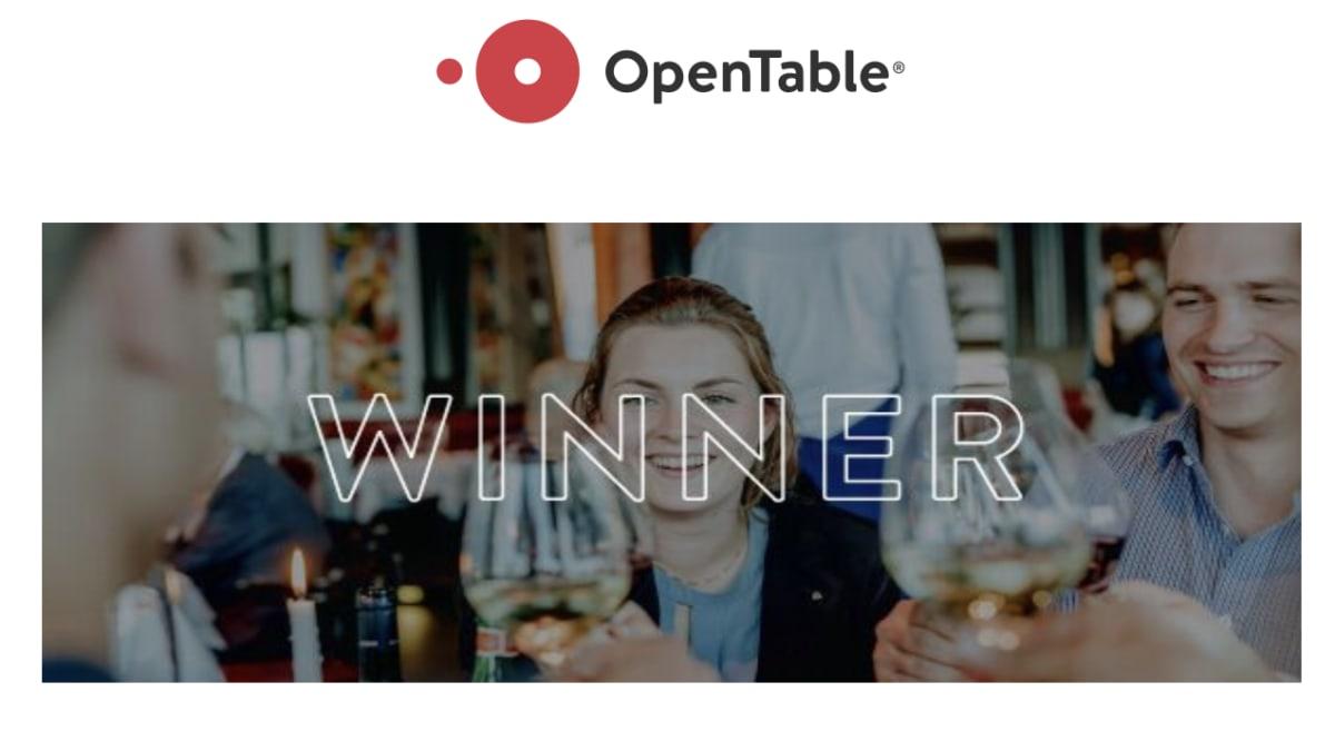 Open Table winner banner