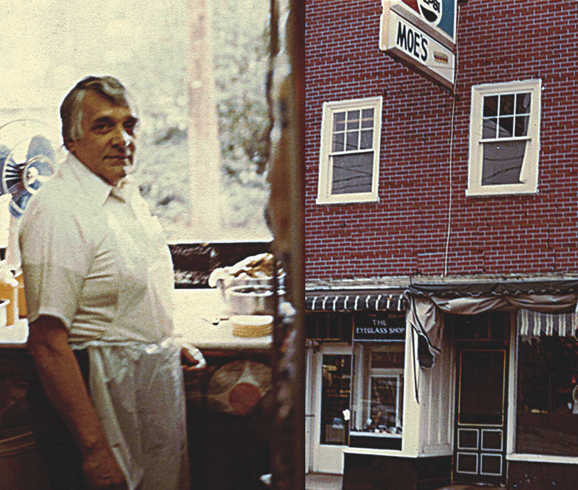 Moe's founder in front of restaurant