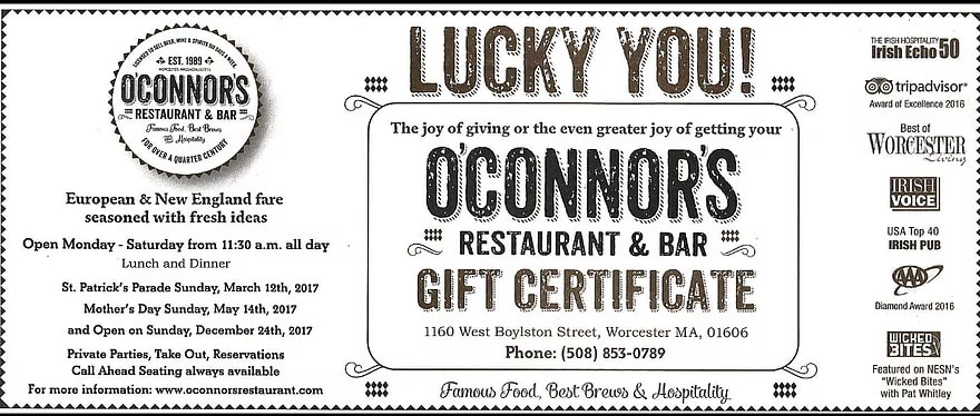 O'Connors Gift Certificate