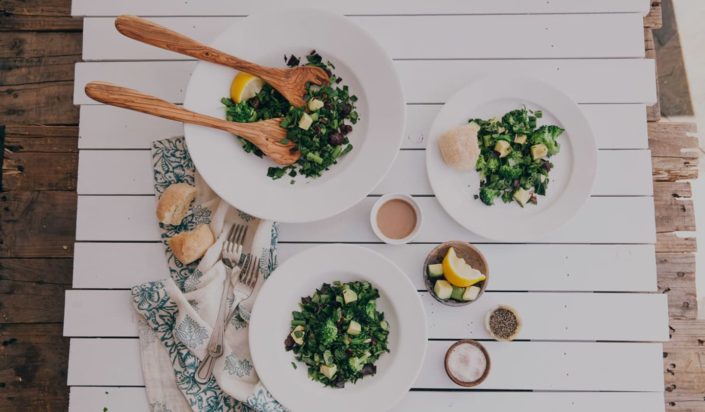 Power of Green Salad on white table