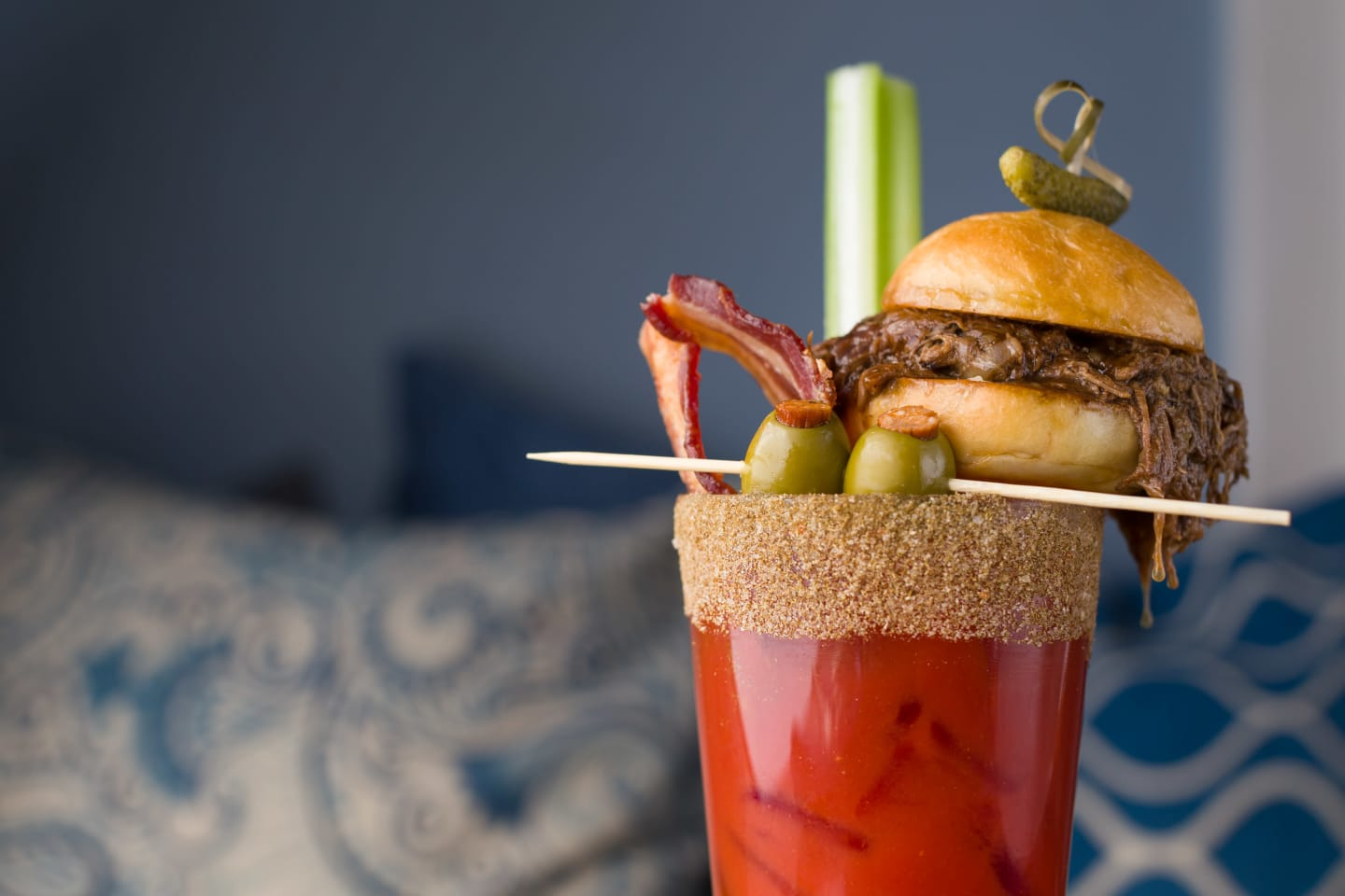 bloody mary with a mini burger