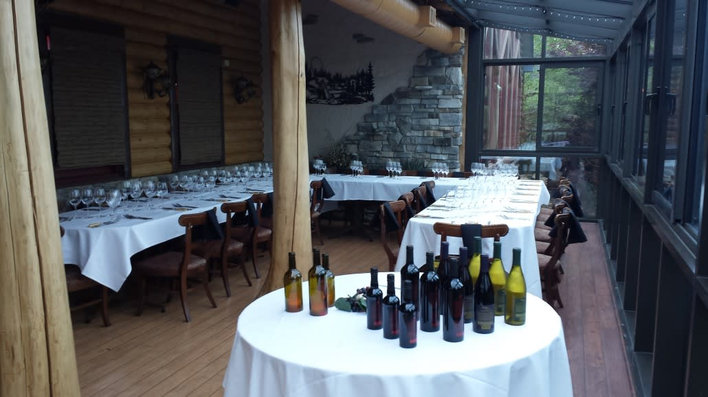 table with wine bottles