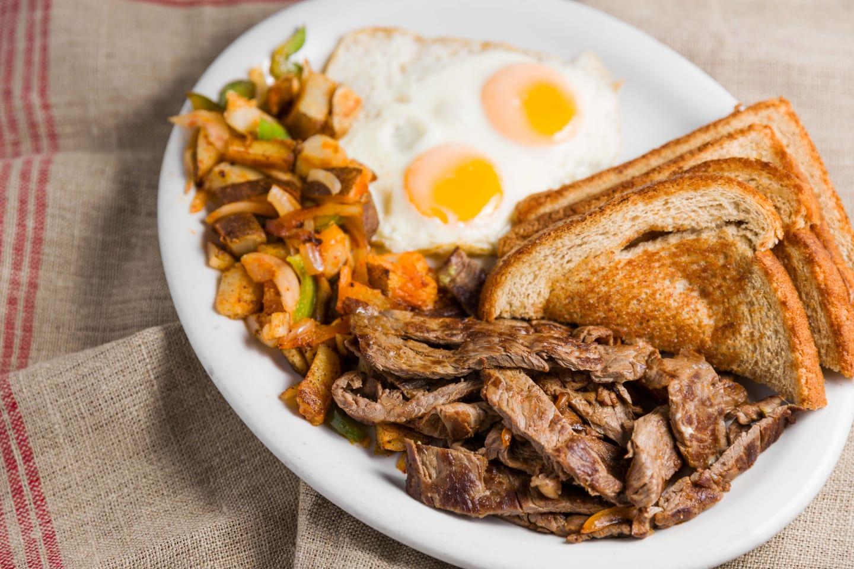carne asada and eggs
