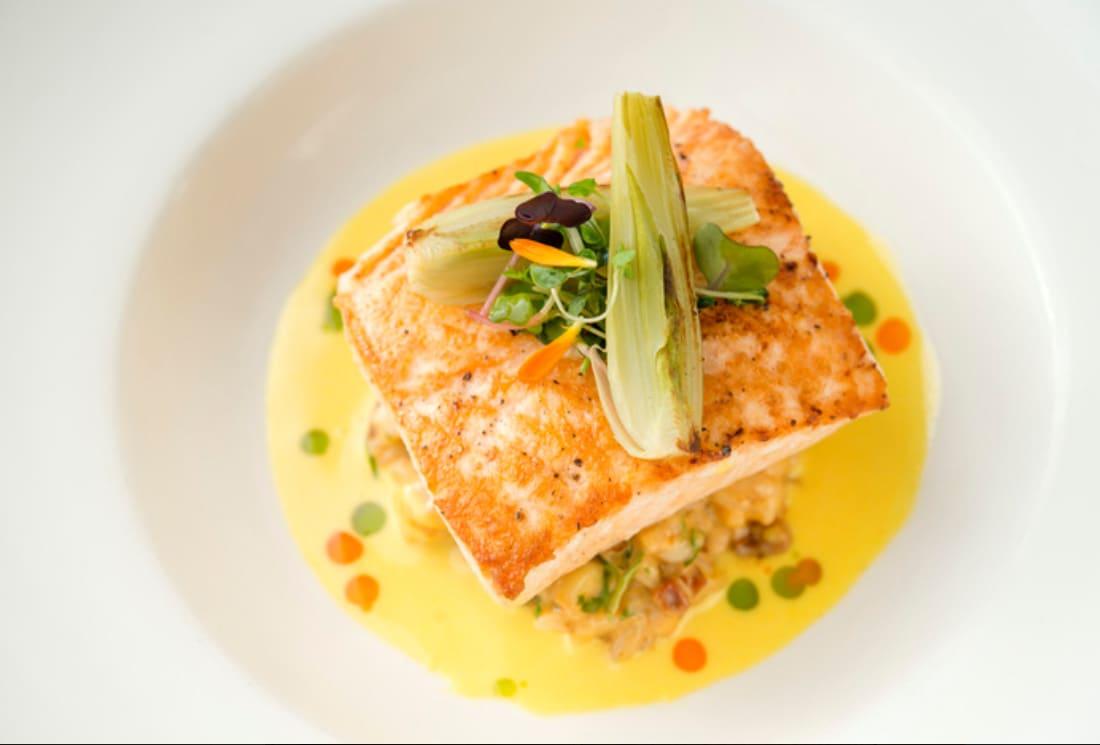 salmon on white dish