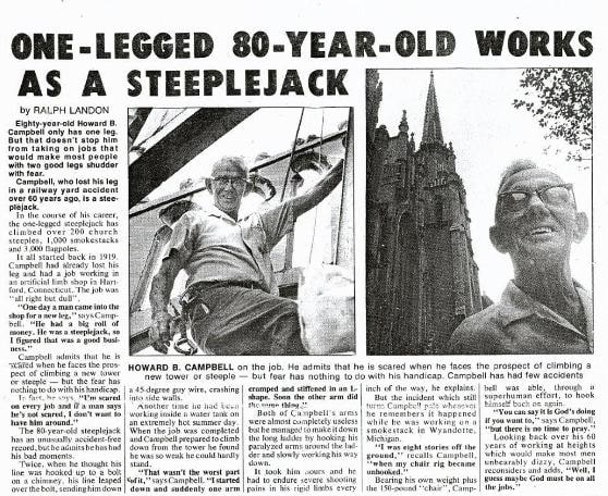 article One-Legged 80-Year-Old works as a steeplejack