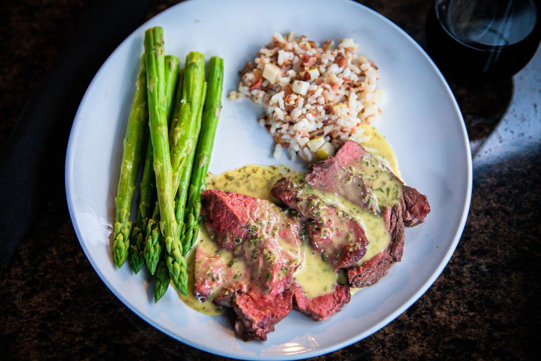 sirloin steak and vegetables